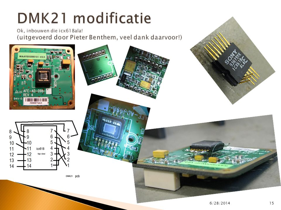 DMK21 modificatie Ok, inbouwen die icx618ala