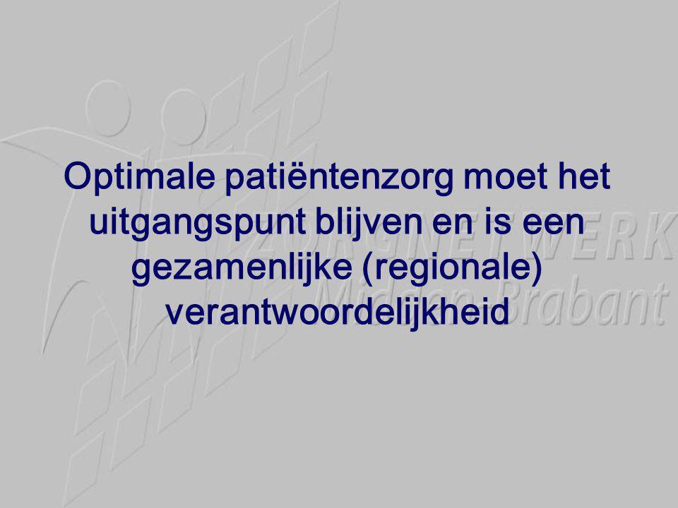 Optimale patiëntenzorg moet het uitgangspunt blijven en is een gezamenlijke (regionale) verantwoordelijkheid