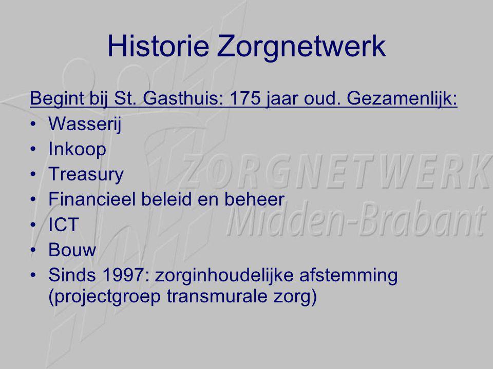 Historie Zorgnetwerk Begint bij St. Gasthuis: 175 jaar oud. Gezamenlijk: Wasserij. Inkoop. Treasury.