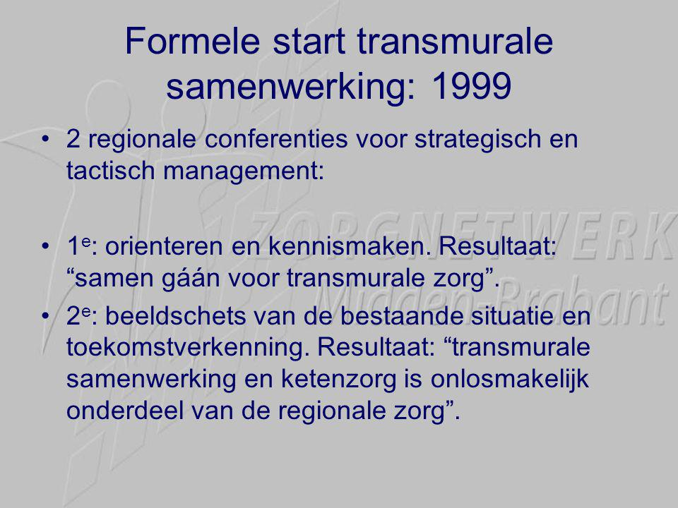Formele start transmurale samenwerking: 1999