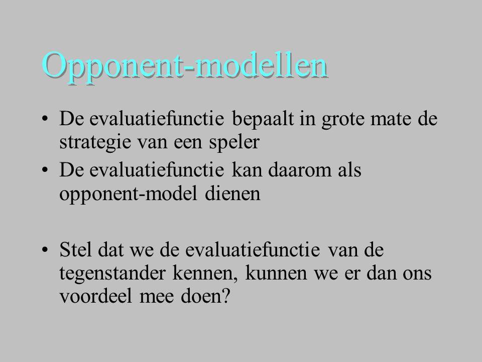 Opponent-modellen De evaluatiefunctie bepaalt in grote mate de strategie van een speler. De evaluatiefunctie kan daarom als opponent-model dienen.
