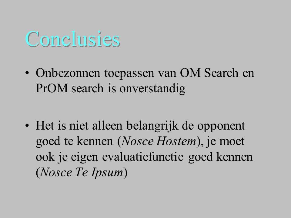 Conclusies Onbezonnen toepassen van OM Search en PrOM search is onverstandig.