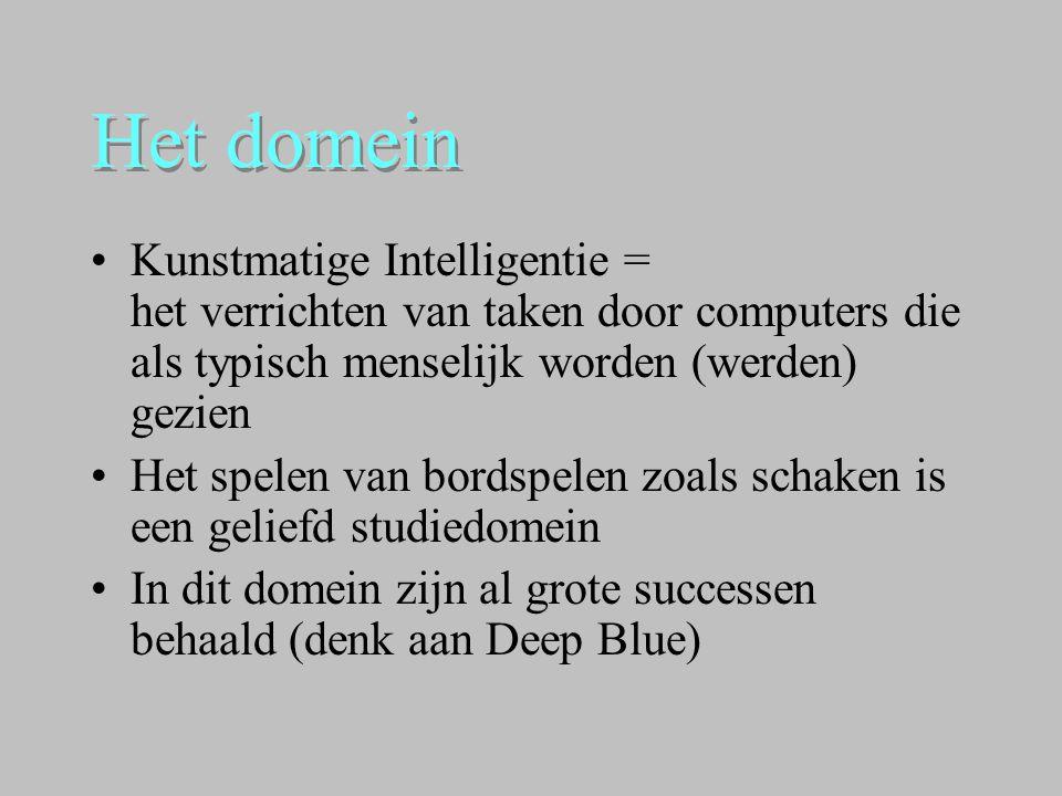 Het domein Kunstmatige Intelligentie = het verrichten van taken door computers die als typisch menselijk worden (werden) gezien.