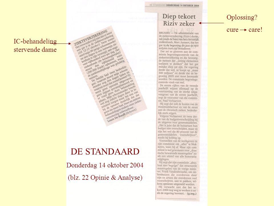 DE STANDAARD Oplossing cure care! IC-behandeling stervende dame