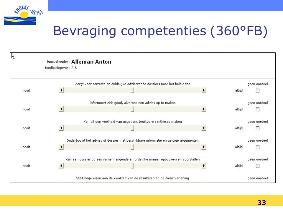 Bevraging competenties (360°FB)