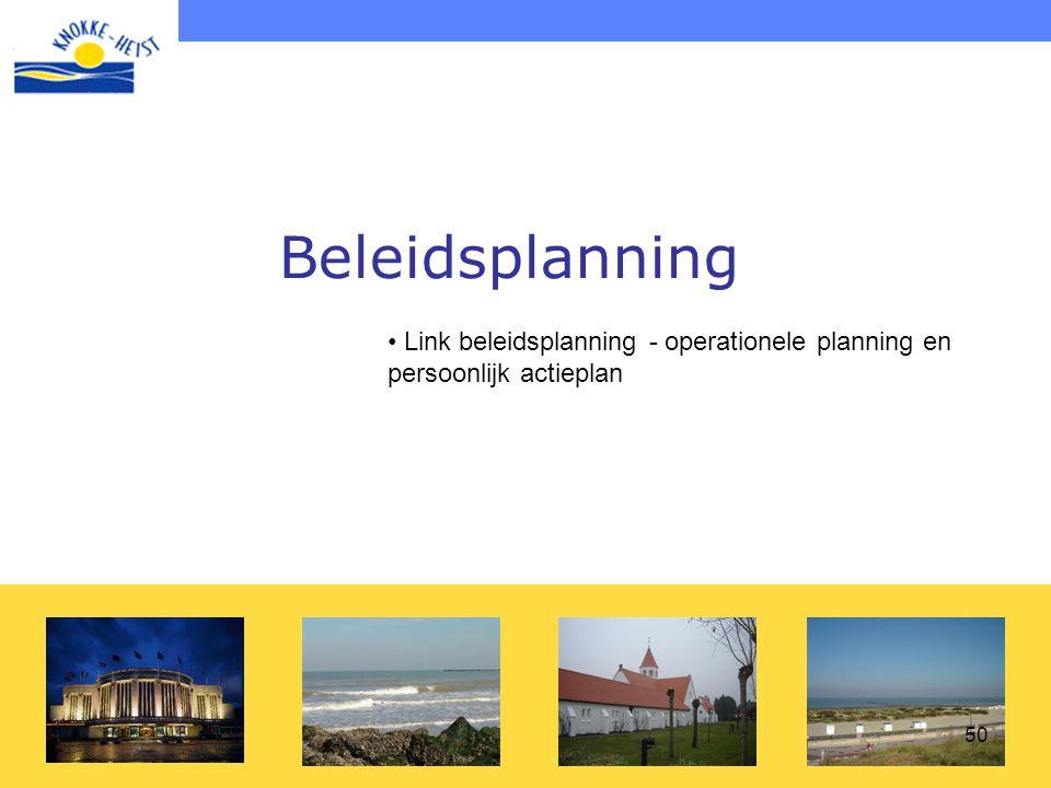 Beleidsplanning Link beleidsplanning - operationele planning en persoonlijk actieplan