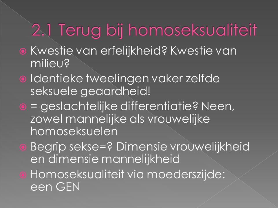 2.1 Terug bij homoseksualiteit