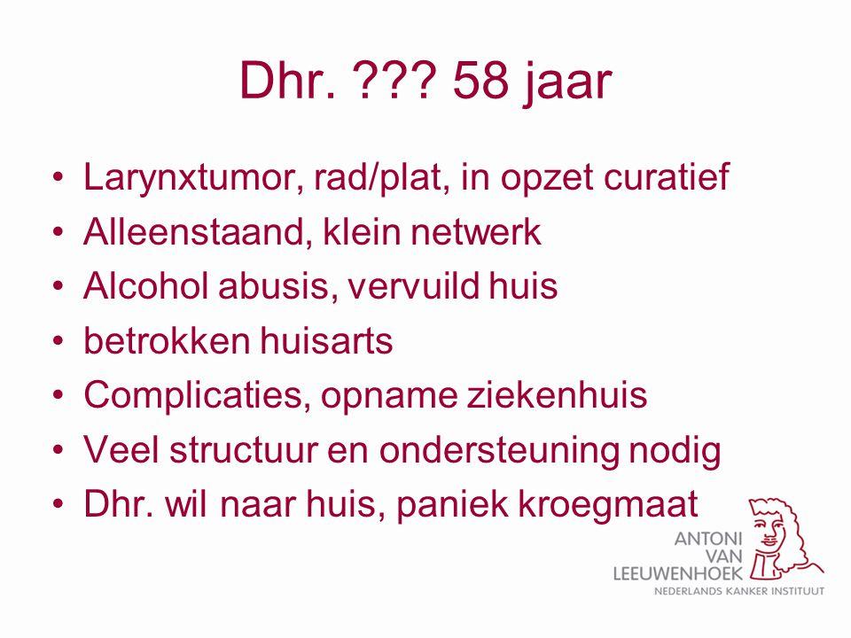 Dhr. 58 jaar Larynxtumor, rad/plat, in opzet curatief