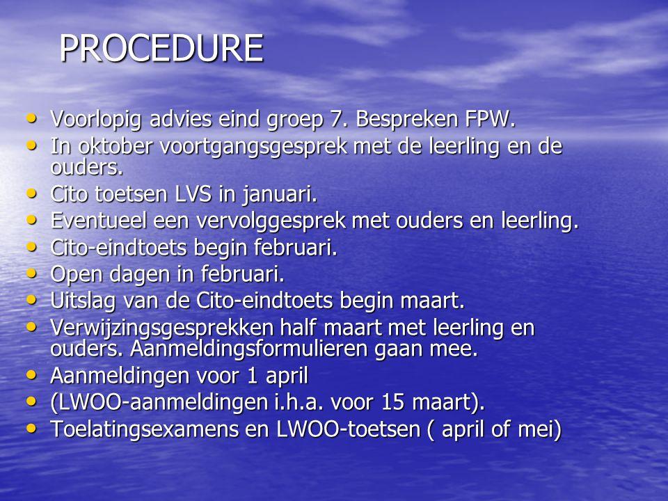 PROCEDURE Voorlopig advies eind groep 7. Bespreken FPW.