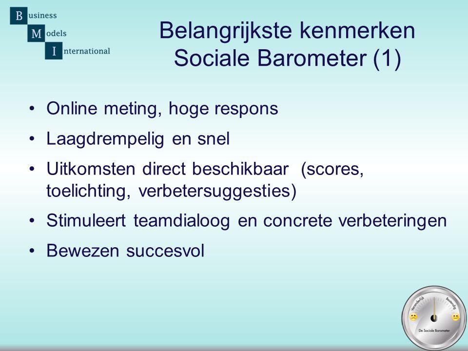 Belangrijkste kenmerken Sociale Barometer (1)