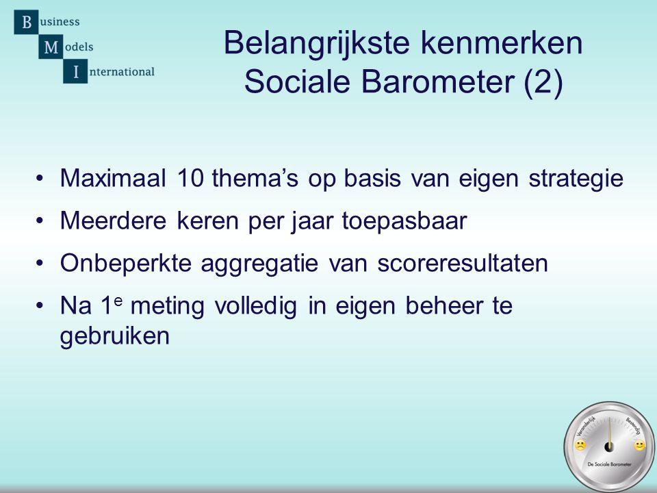 Belangrijkste kenmerken Sociale Barometer (2)