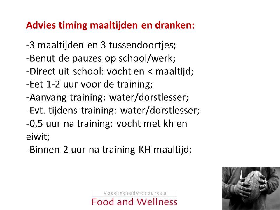 Advies timing maaltijden en dranken: