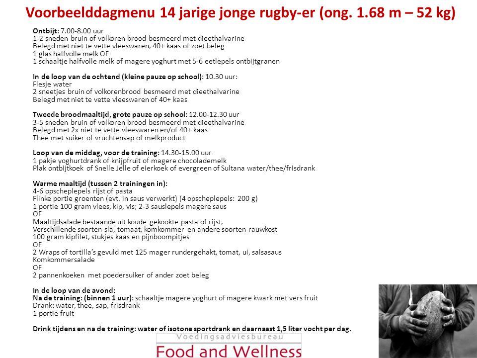 Voorbeelddagmenu 14 jarige jonge rugby-er (ong. 1.68 m – 52 kg)
