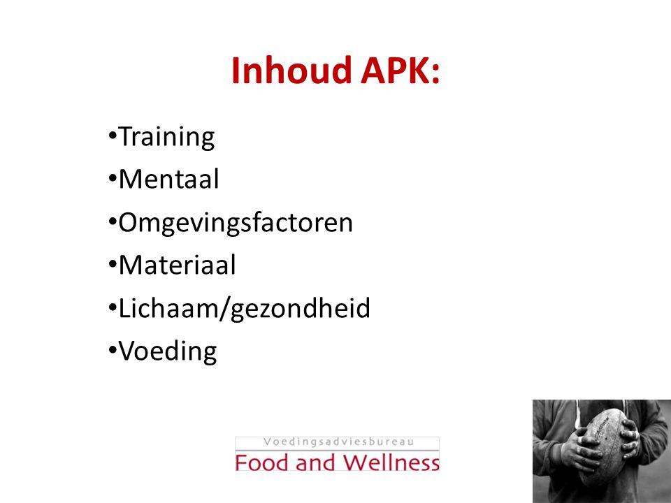 Inhoud APK: Training Mentaal Omgevingsfactoren Materiaal