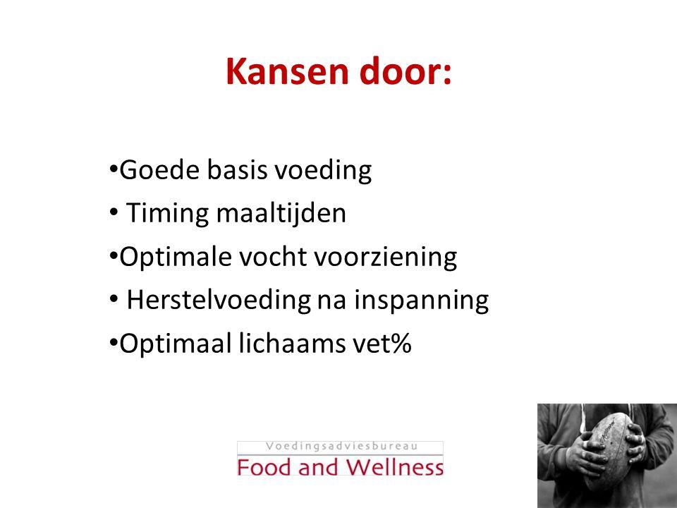 Kansen door: Goede basis voeding Timing maaltijden