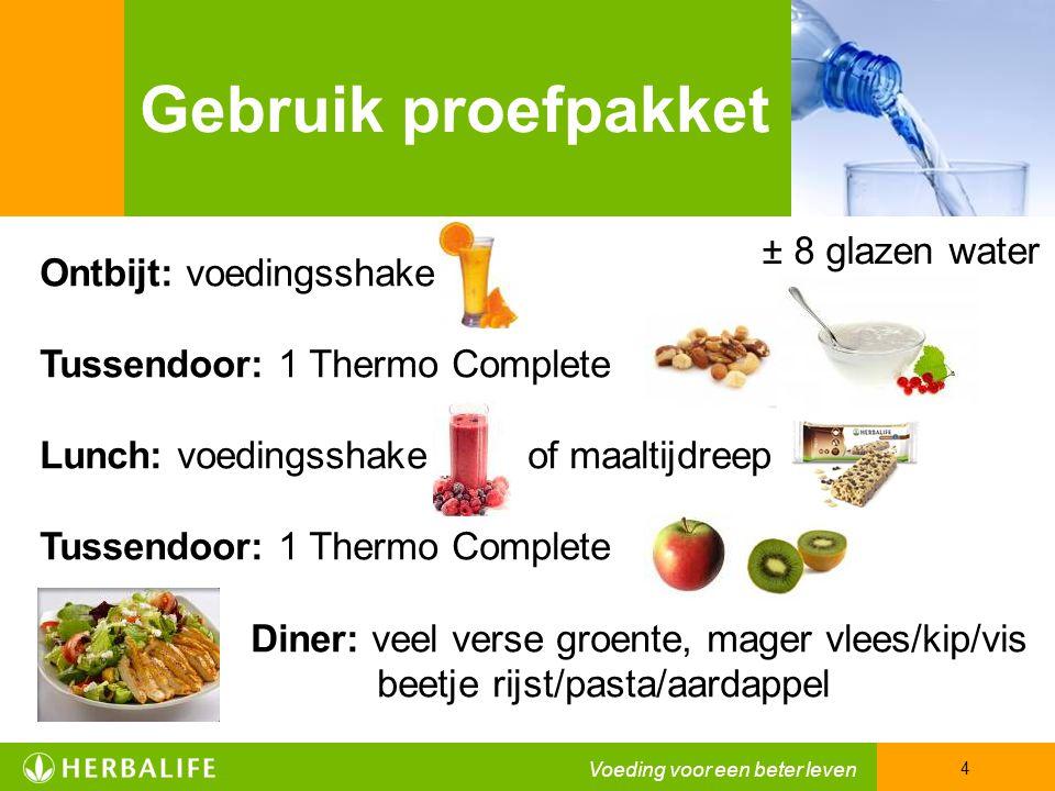 Gebruik proefpakket ± 8 glazen water Ontbijt: voedingsshake