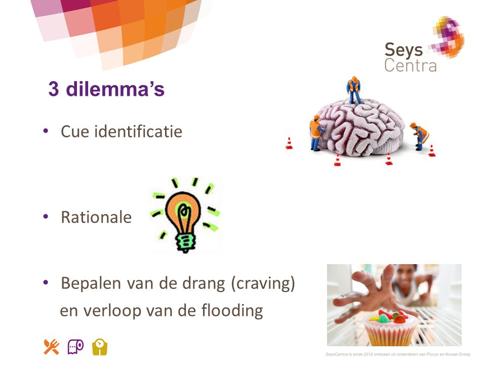 3 dilemma's Cue identificatie Rationale Bepalen van de drang (craving)