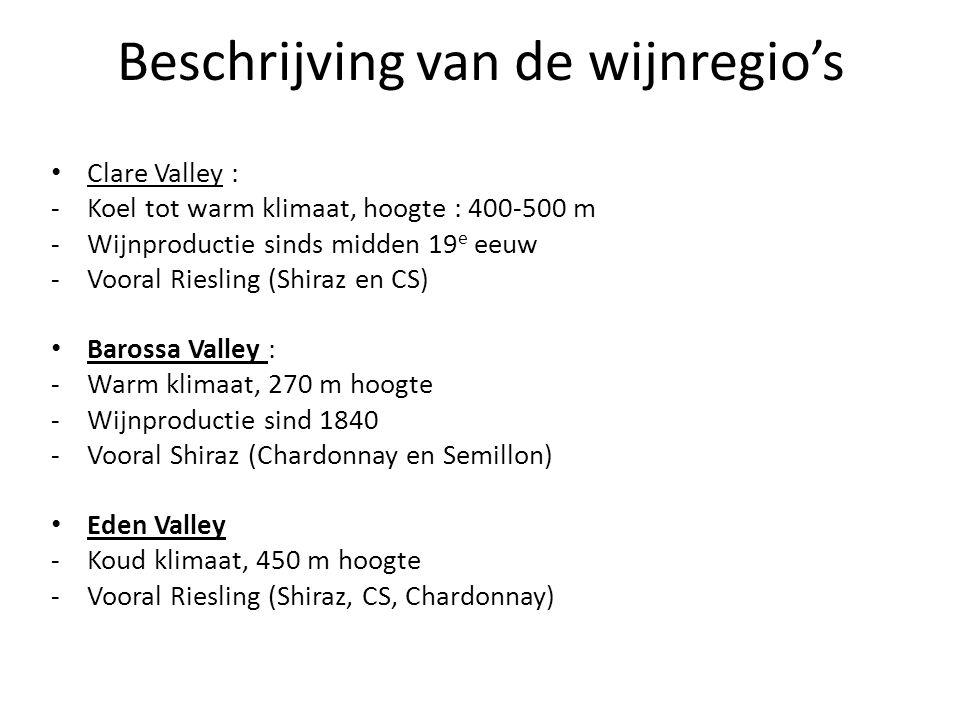 Beschrijving van de wijnregio's
