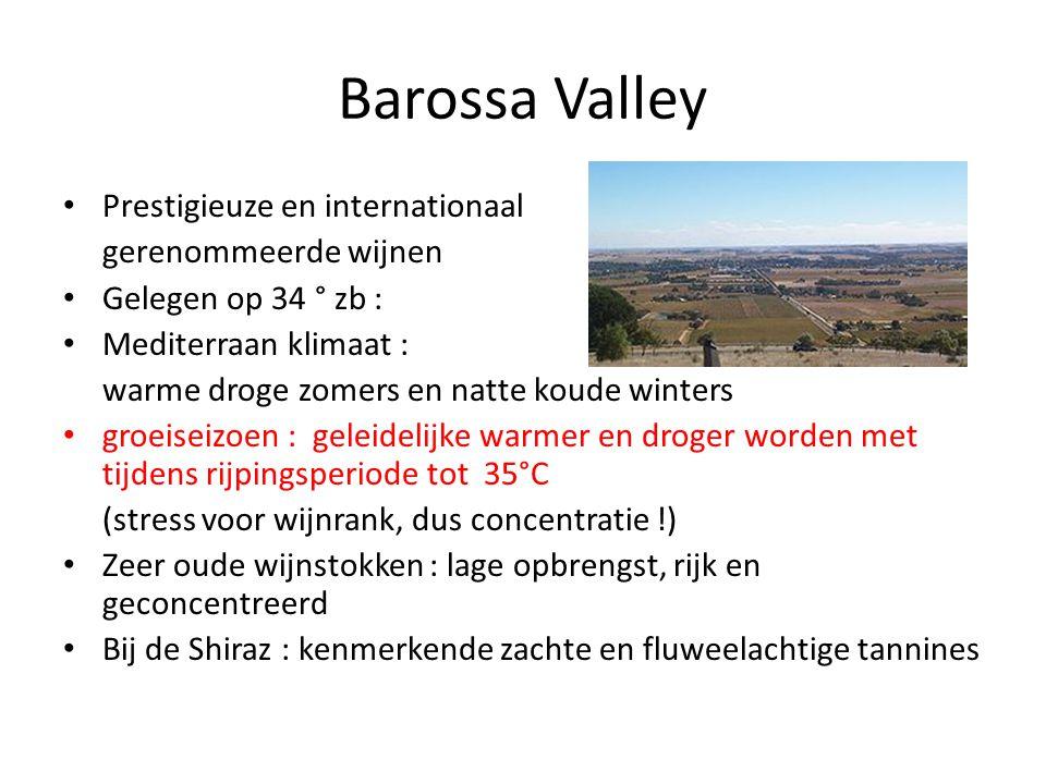Barossa Valley Prestigieuze en internationaal gerenommeerde wijnen