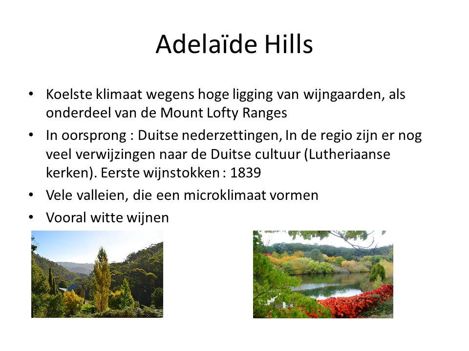 Adelaïde Hills Koelste klimaat wegens hoge ligging van wijngaarden, als onderdeel van de Mount Lofty Ranges.