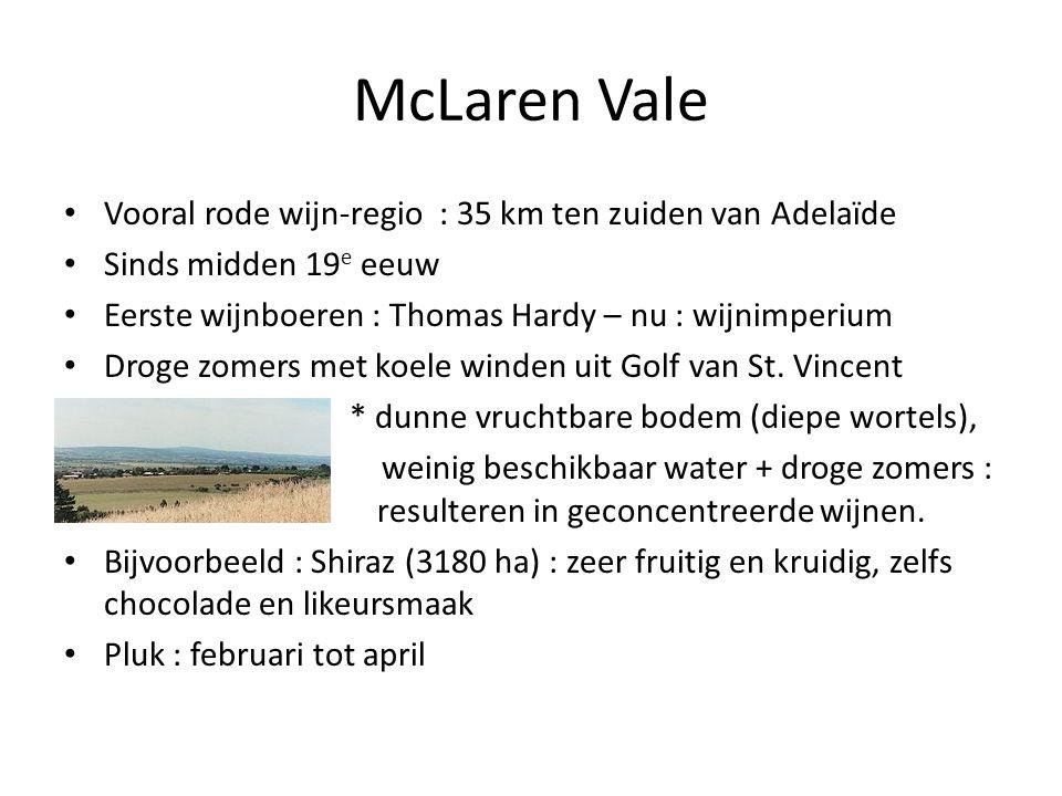 McLaren Vale Vooral rode wijn-regio : 35 km ten zuiden van Adelaïde
