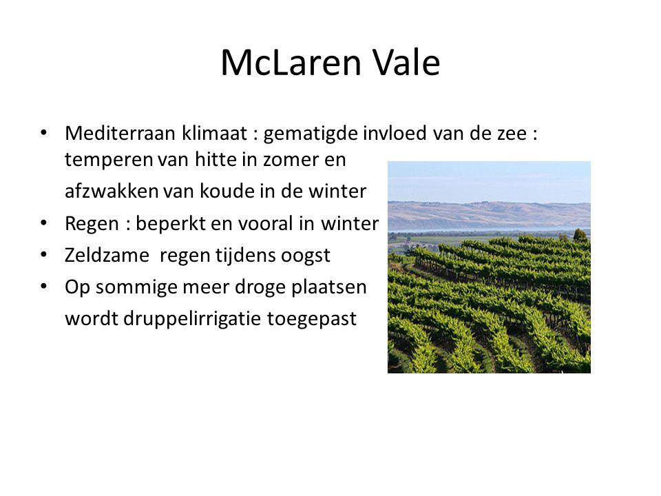 McLaren Vale Mediterraan klimaat : gematigde invloed van de zee : temperen van hitte in zomer en. afzwakken van koude in de winter.