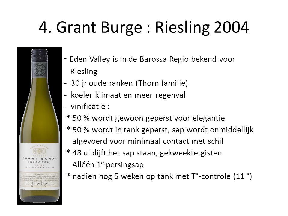 4. Grant Burge : Riesling 2004 - Eden Valley is in de Barossa Regio bekend voor. Riesling. - 30 jr oude ranken (Thorn familie)