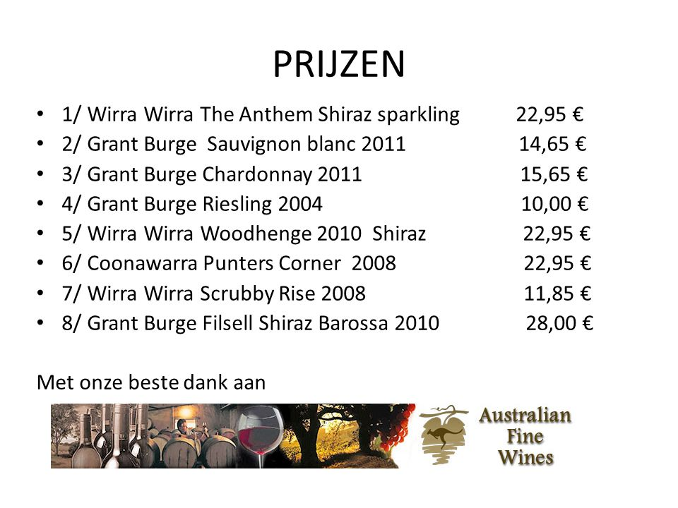 PRIJZEN 1/ Wirra Wirra The Anthem Shiraz sparkling 22,95 €
