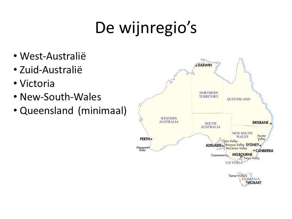 De wijnregio's West-Australië Zuid-Australië Victoria New-South-Wales