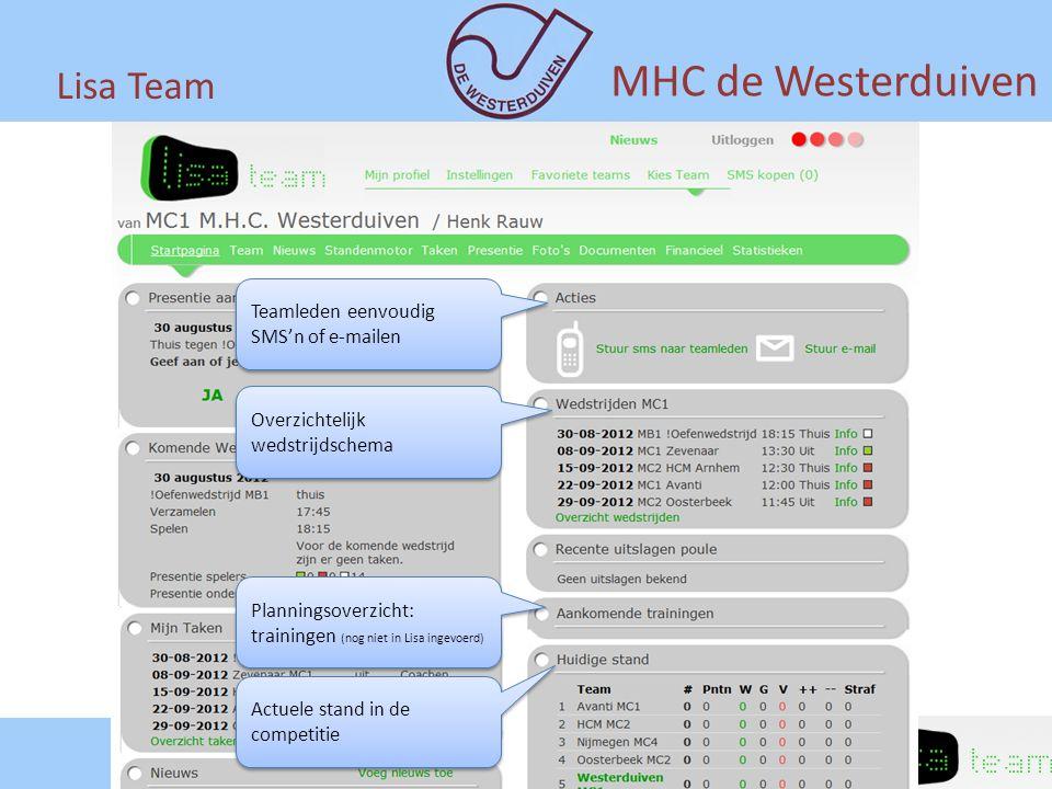 MHC de Westerduiven Lisa Team Teamleden eenvoudig SMS'n of e-mailen