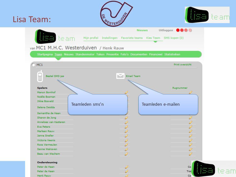 Lisa Team: Teamleden sms'n Teamleden e-mailen