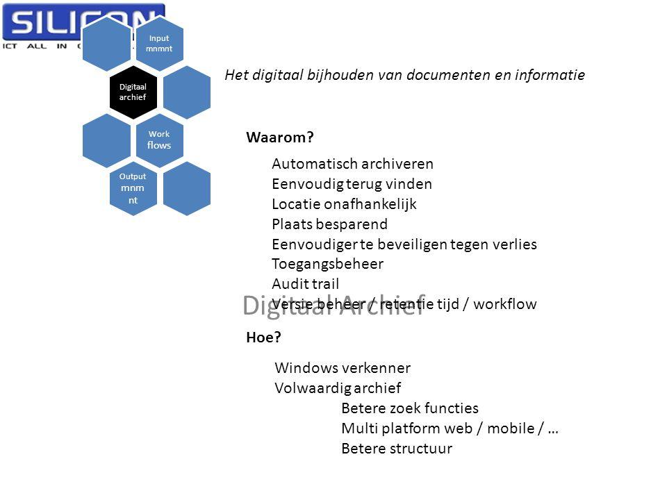 Digitaal Archief Het digitaal bijhouden van documenten en informatie
