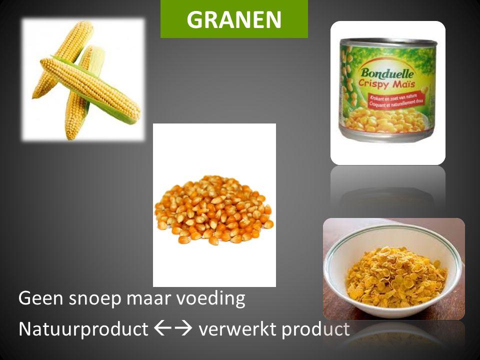 Geen snoep maar voeding Natuurproduct  verwerkt product
