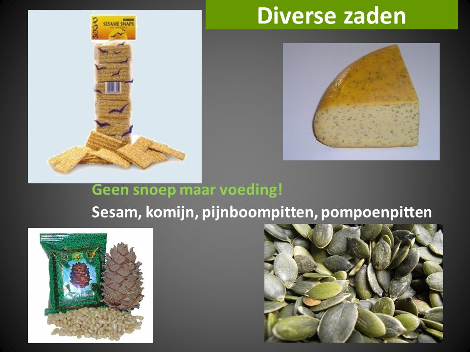 Diverse zaden Geen snoep maar voeding!
