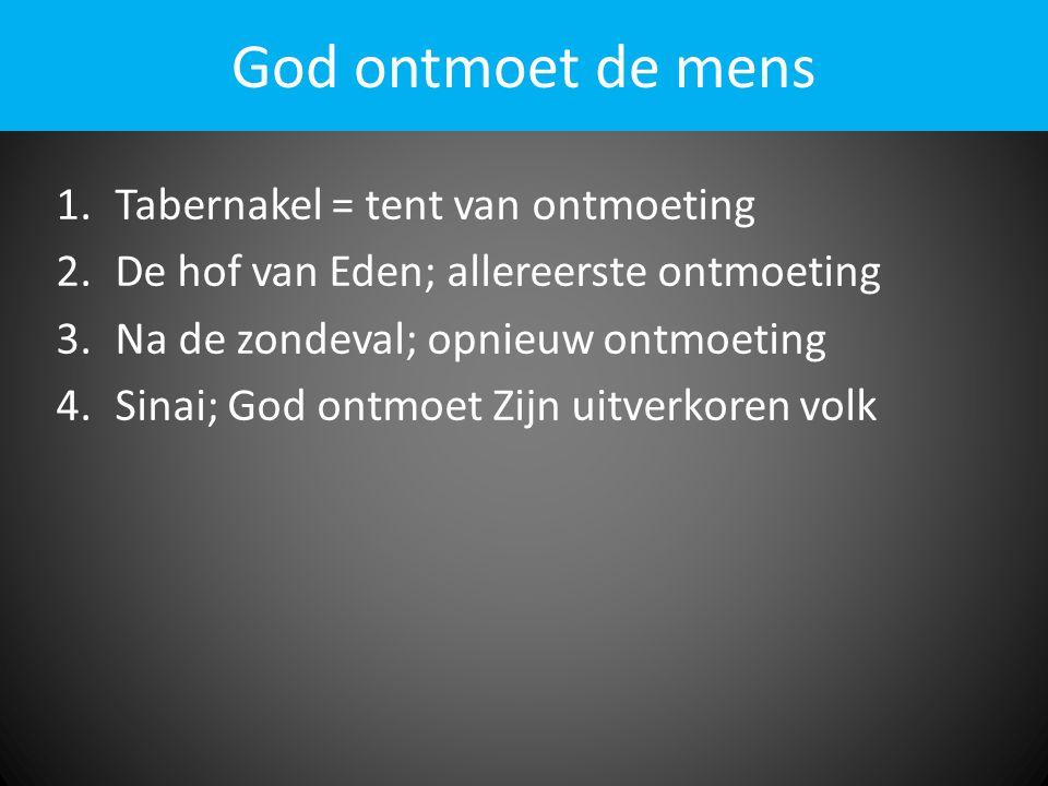God ontmoet de mens Tabernakel = tent van ontmoeting