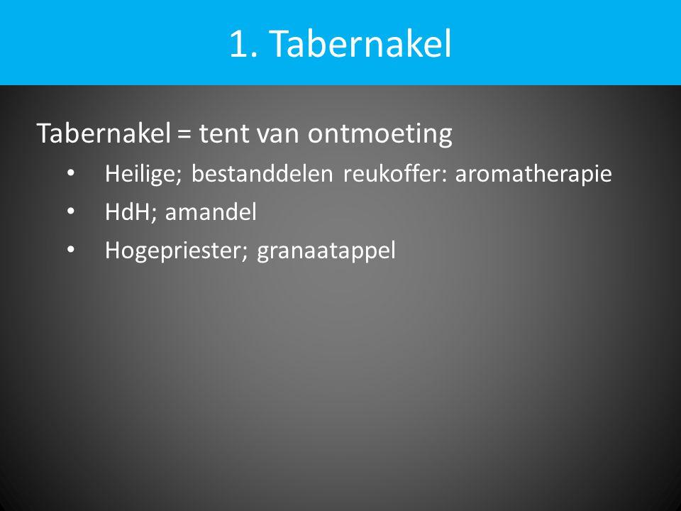 1. Tabernakel Tabernakel = tent van ontmoeting