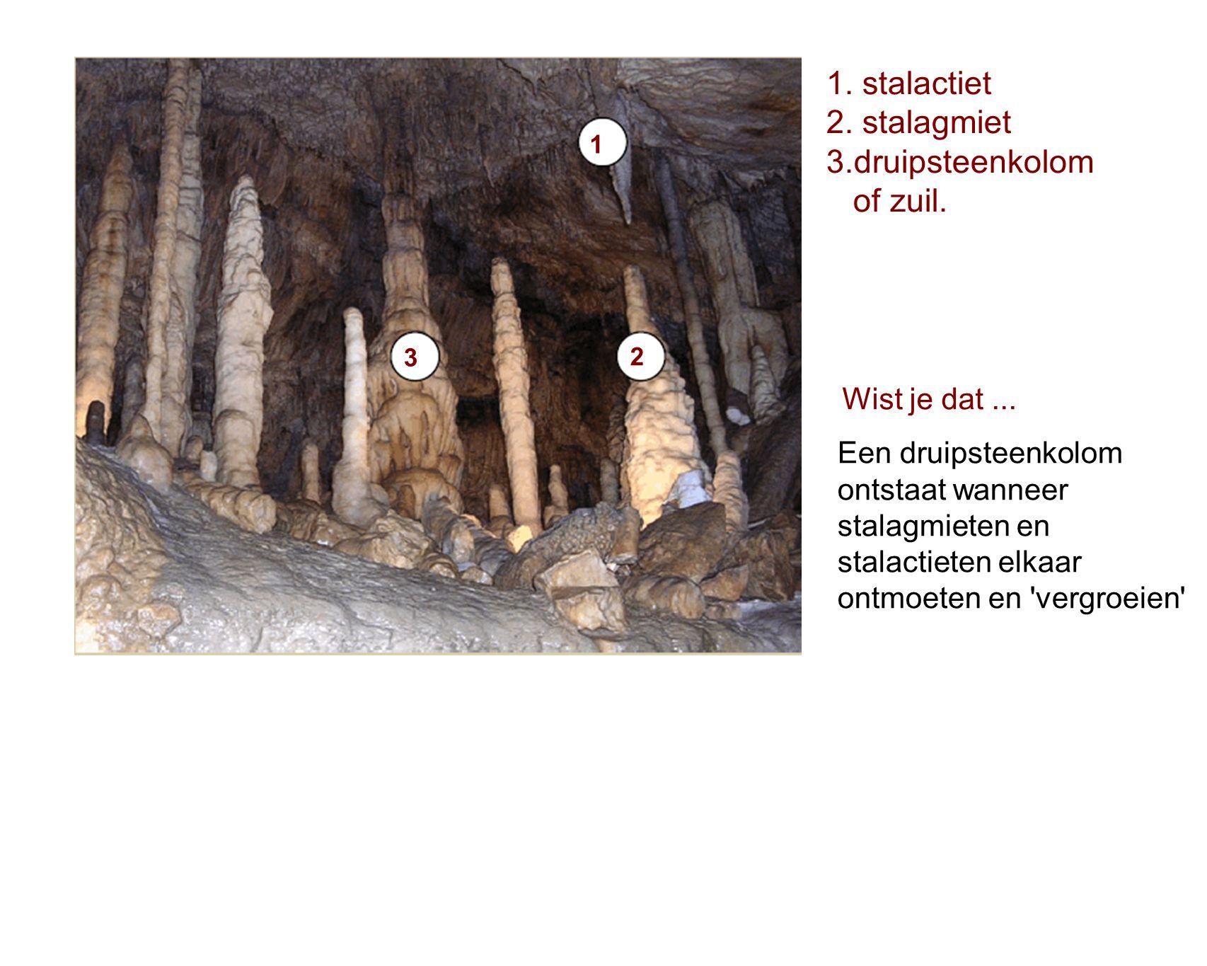 1. stalactiet 2. stalagmiet 3.druipsteenkolom of zuil. Wist je dat ...
