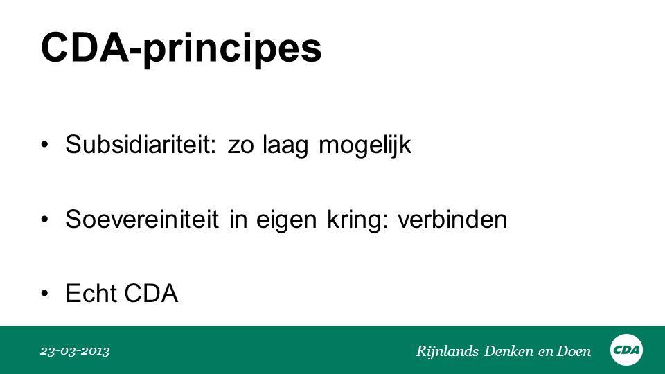 CDA-principes Subsidiariteit: zo laag mogelijk