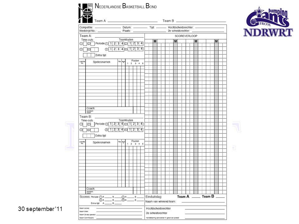 Sheet voor U14 en hoger 30 september 11