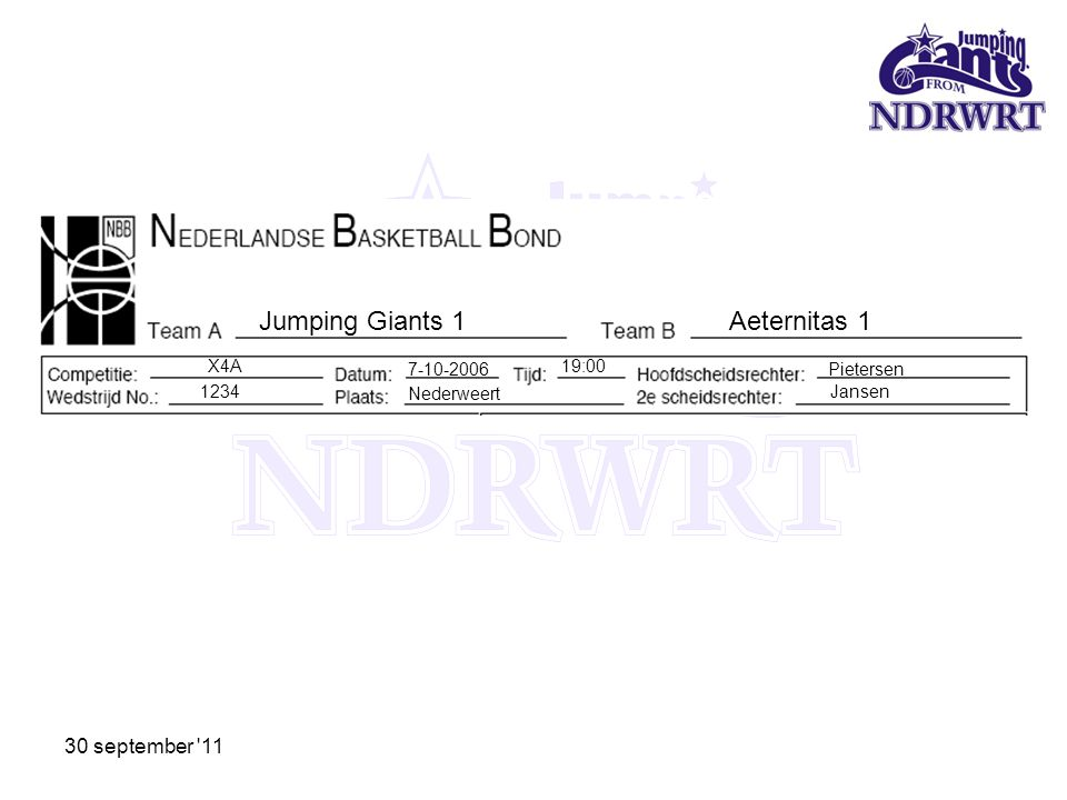 Jumping Giants 1 Aeternitas 1 30 september 11 X4A 7-10-2006 19:00