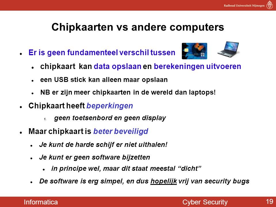 Chipkaarten vs andere computers