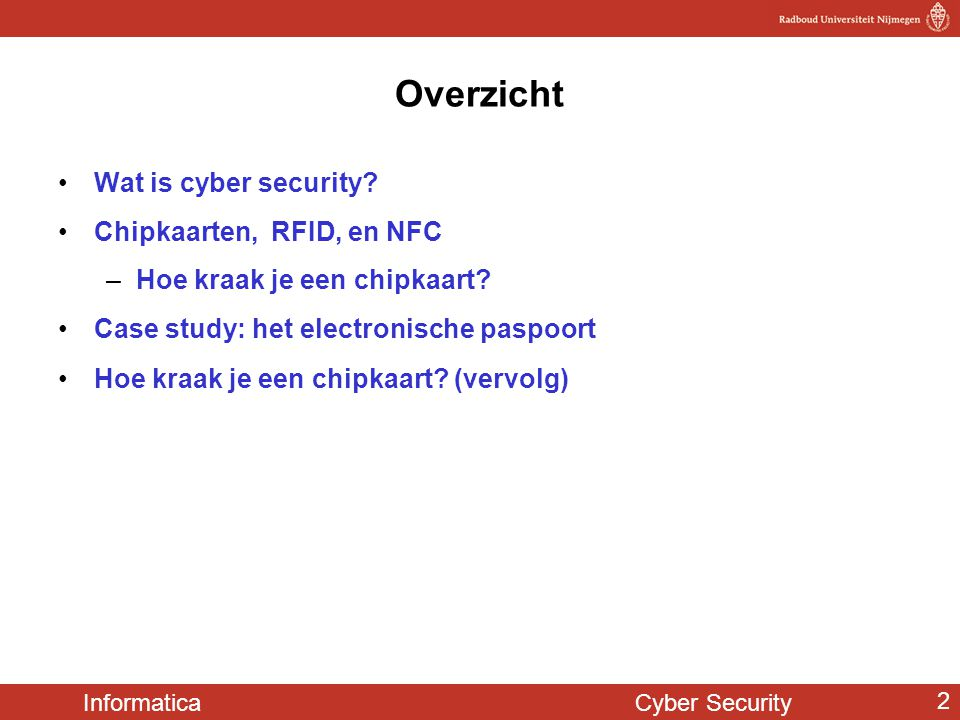 Overzicht Wat is cyber security Chipkaarten, RFID, en NFC