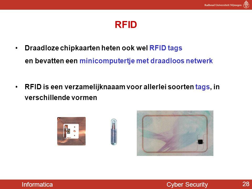 RFID Draadloze chipkaarten heten ook wel RFID tags