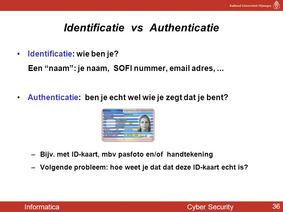 Identificatie vs Authenticatie