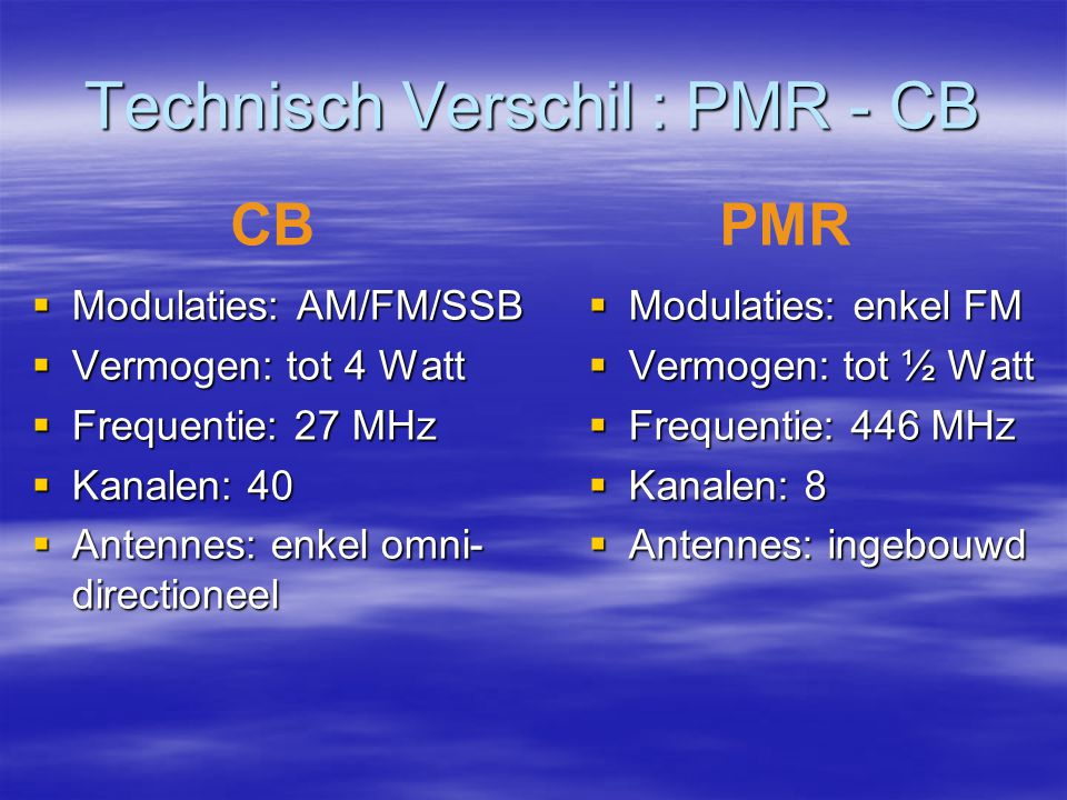 Technisch Verschil : PMR - CB