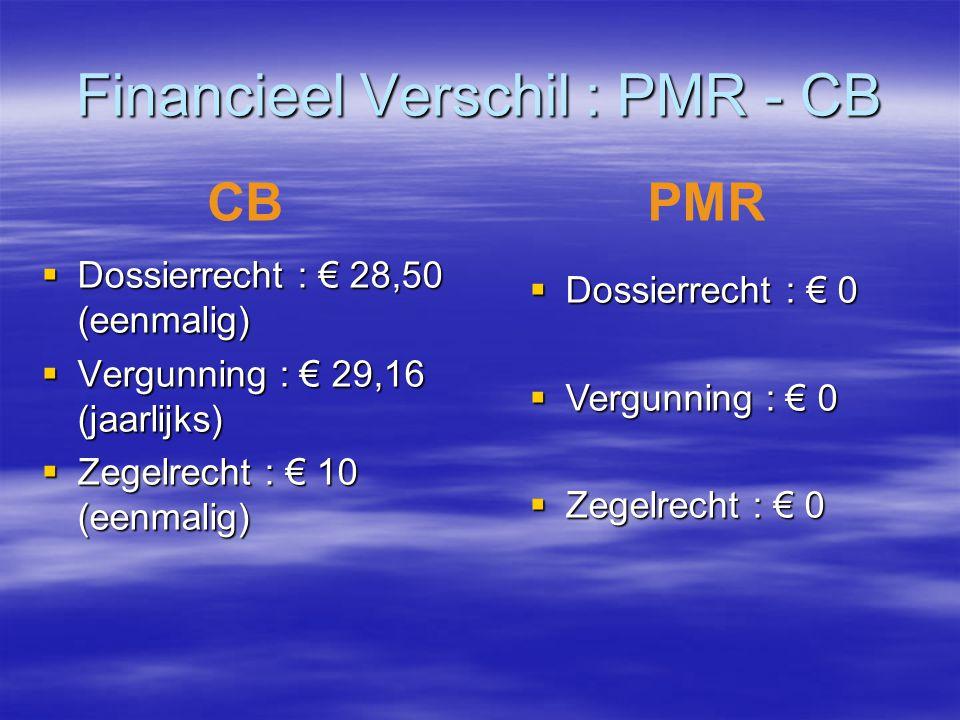 Financieel Verschil : PMR - CB