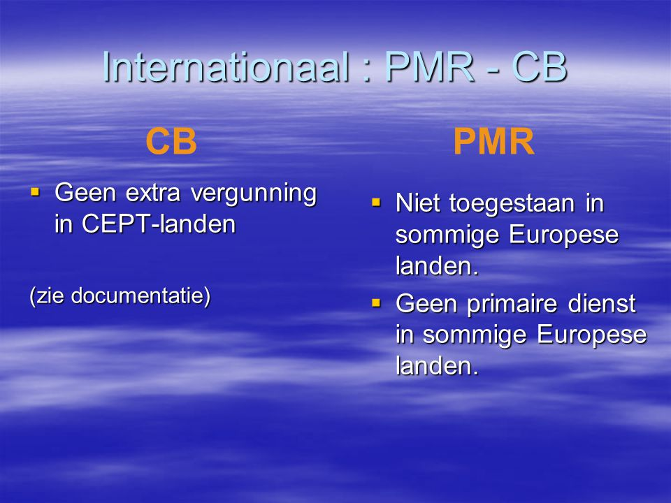 Internationaal : PMR - CB