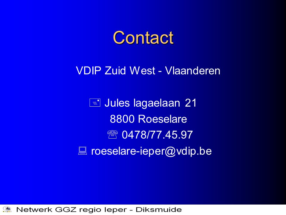 Contact VDIP Zuid West - Vlaanderen  Jules lagaelaan 21