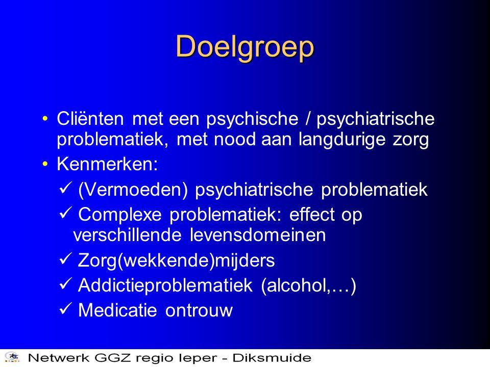 Doelgroep Cliënten met een psychische / psychiatrische problematiek, met nood aan langdurige zorg. Kenmerken: