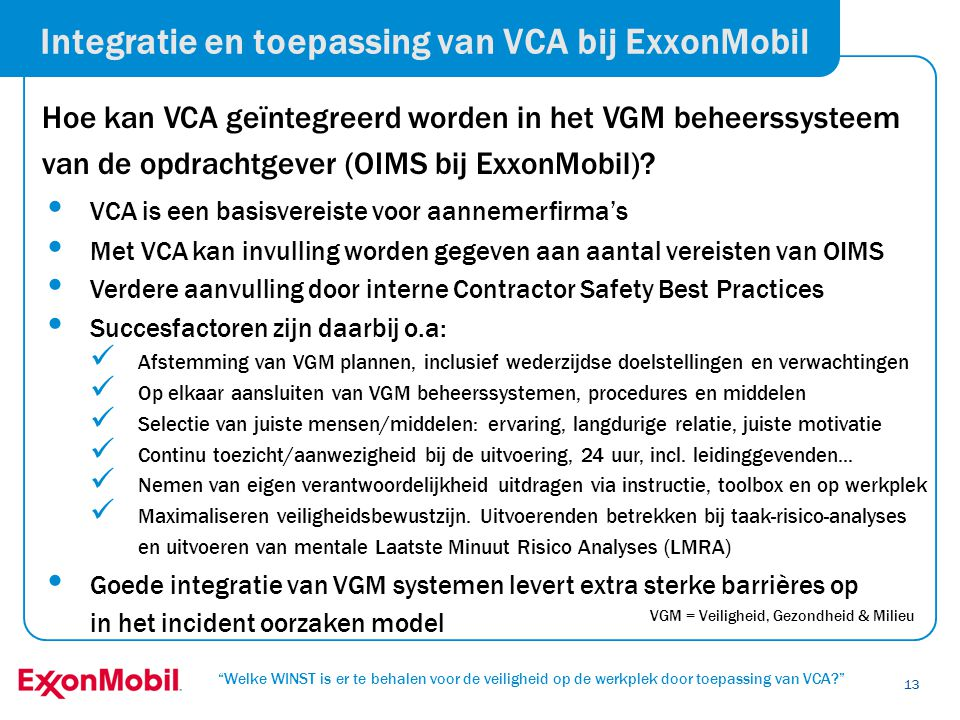 Integratie en toepassing van VCA bij ExxonMobil